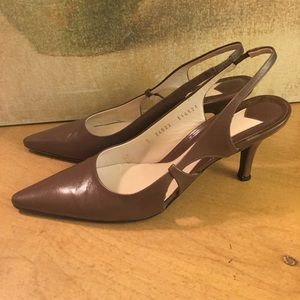 Bruno Magli Brown Leather Slingback Pumps 7 B